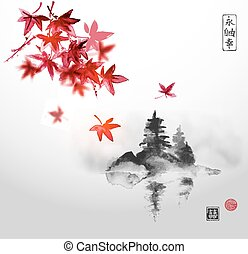 Red japanese maple and island - Red japanese maple trees and...