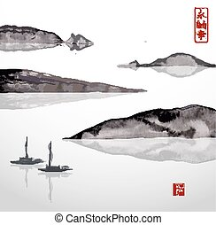 Two fishing boats and mountains. Traditional Japanese ink...