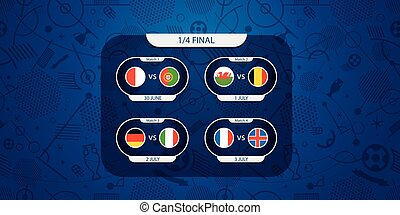 Soccer infographic template. Flags on football silhouettes background