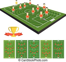 Soccer team vector clip-art with different strategy schemes