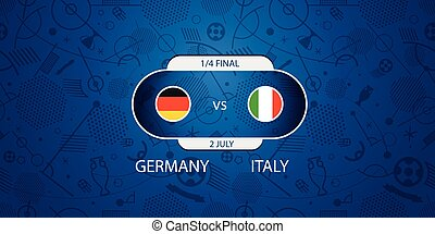 Soccer infographic template. Match of the day. Germany vs Italy