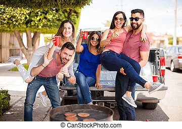 Friends fooling around and having fun - Group of good...