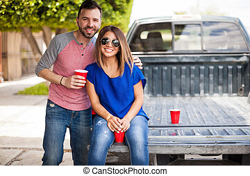 Cute young couple hanging out outdoors