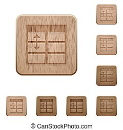 Spreadsheet adjust table row height wooden buttons - Set of...