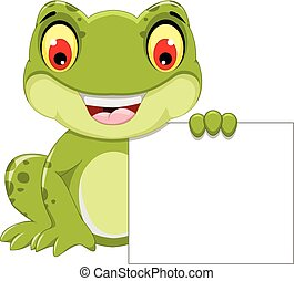 funny frog cartoon holding a blank
