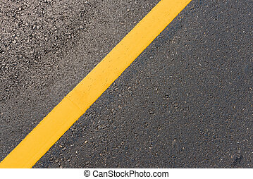 yellow line on the new road