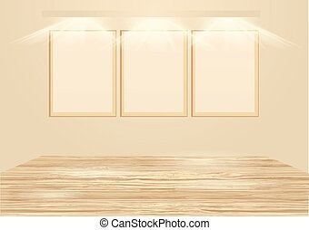 gallery wooden empty frames illuminated by spotlights
