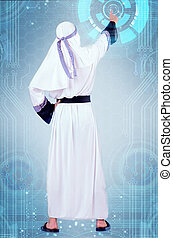 arab, 概念, 實際上, 按鈕, 按壓, 未來, 人