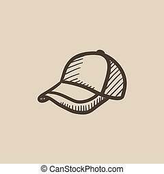 Baseball hat sketch icon. - Baseball hat sketch icon for...