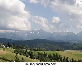 Tatra Mountains - Panoramic view of Tatra Mountains in...