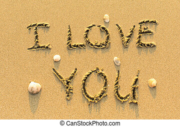 I Love You - drawn by hand on beach - I Love You - drawn by...