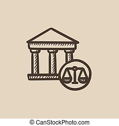 Court sketch icon - Court vector sketch icon isolated on...