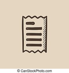 Receipt sketch icon - Receipt vector sketch icon isolated on...