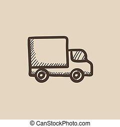Delivery van sketch icon. - Delivery van vector sketch icon...