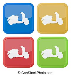 set of four square icons with scooter - set of four colored...