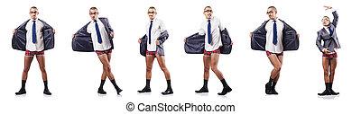 compuesto, foto, blanco, desnudo, hombre de negocios
