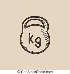 Kettlebell sketch icon - Kettlebell vector sketch icon...