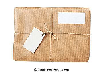 Brown package with blank labels - A parcel wrapped in brown...
