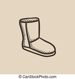 Fuzzy winter boot sketch icon. - Fuzzy winter boot vector...