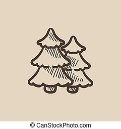 Pine trees sketch icon - Pine trees vector sketch icon...