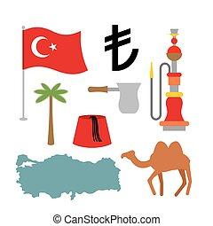 Turkey symbol set Turkish national icon State traditional...