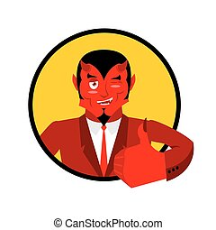 Devil shows well. Sign all right. Thumbs up. Hand showing ok. Gesture of  hand. Funny demon. Heck with horns. Crafty Satan. Beelzebub Prince of darkness and underworld. Lucifer Boss. Religious and mythological character, supreme spirit of evil. Diablo Lord of Hell.