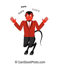 Satã, falar, OOPS., surpreendido, por, demon., vermelho,...