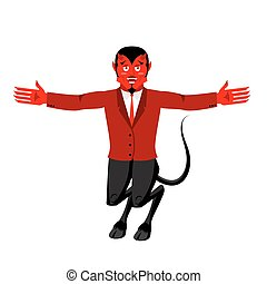 Red Devil. Funny demon. Satan with horns. Crafty...
