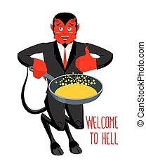 bem-vindo, Para, Hell., diabo, segurando, fritar, panela,...