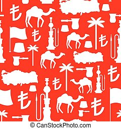 Turkey symbols seamless pattern Turkish national ornament...