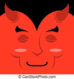 Sleeping demon with big smile Cartoon cute face Gaiety...