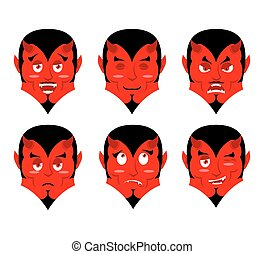 Emotions devil. Set expressions avatar Satan. Red Demon good. Lucifer is an evil. Diablo discouraged. Mephistopheles cheerful. Religious and mythological character, supreme spirit of evil. lord of Hell