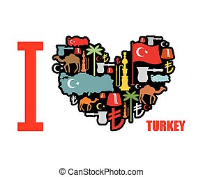 I love Turkey Sign heart of traditional Turkish folk...