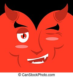 Devil winks. It suggests emotion on red background. Demon...