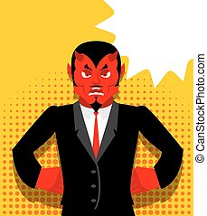 Angry devil. Satan is not happy. Angry red Demon. Lucifer is...