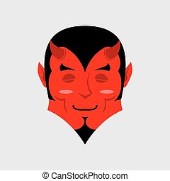 Sleeping demon with big smile. Cartoon cute face. Gaiety...