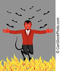 Red Devil in hell. Funny demon and bat. Satan with horns....