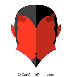 Red Devil icon. Demon sign flat style. Heck with horns....