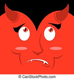 Surprised face of devil on red background. Discouragement...