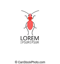 Red beetle - Graphic symbol red beetle on white background
