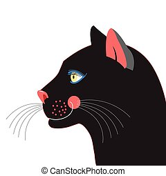 Black panther - Graphic portrait of a black panther on a...