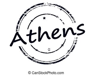 Athens - Rubber stamp with word Athens inside, vector...