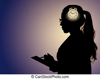 Concept of missing deadlines with woman and clock