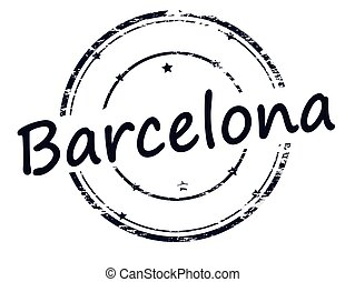 Barcelona - Rubber stamp with word Barcelona inside, vector...