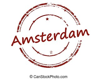 Amsterdam - Rubber stamp with word Amsterdam inside, vector...
