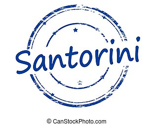 Santorini - Rubber stamp with word Santorini inside, vector...