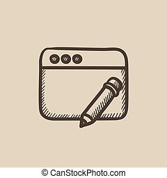 Digital art sketch icon - Digital art vector sketch icon...