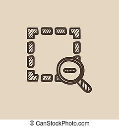 Zoom out sketch icon - Zoom out vector sketch icon isolated...