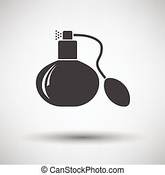 Cologne spray icon on gray background, round shadow Vector...