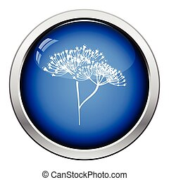 Dill icon Glossy button design Vector illustration